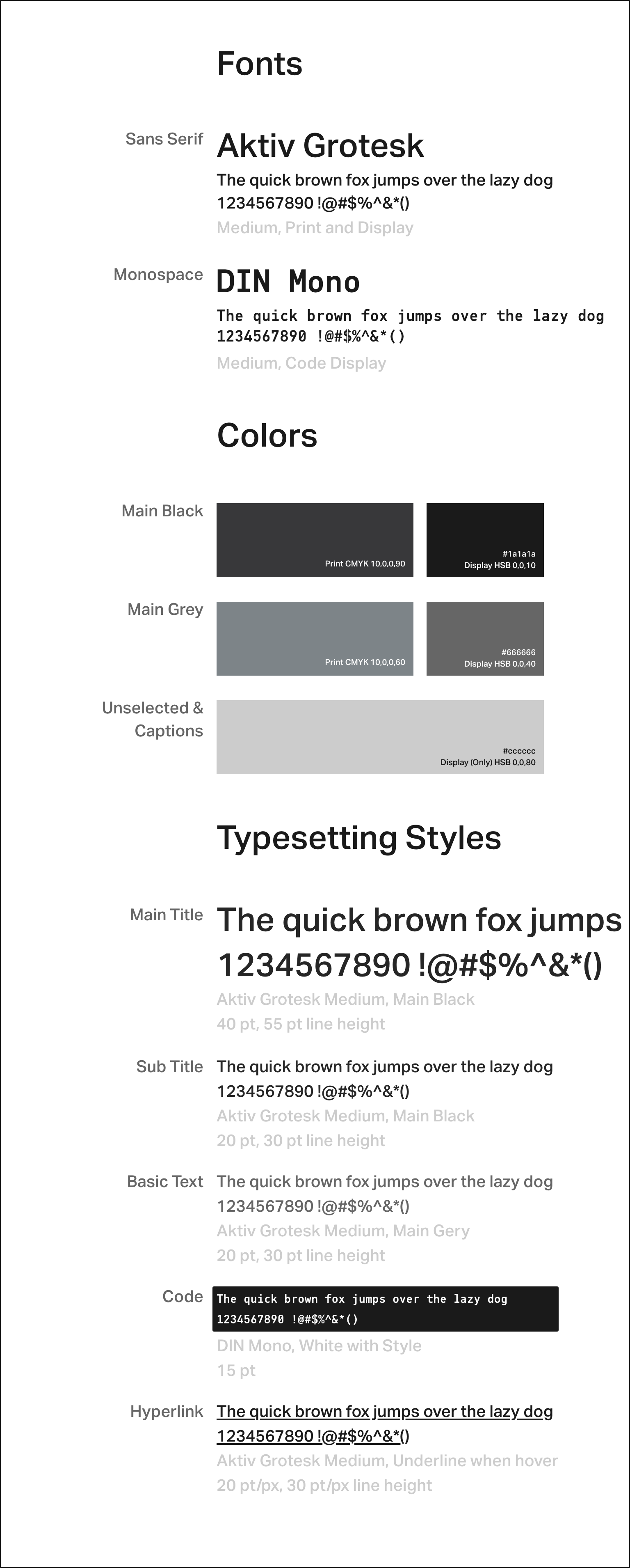 Fonts, colours and typesetting styles